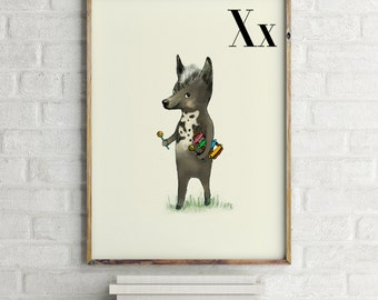 Xoloitzcuintle print, nursery animal print, alphabet cards animals, alphabet letters, abc letters, alphabet print, animals for nursery