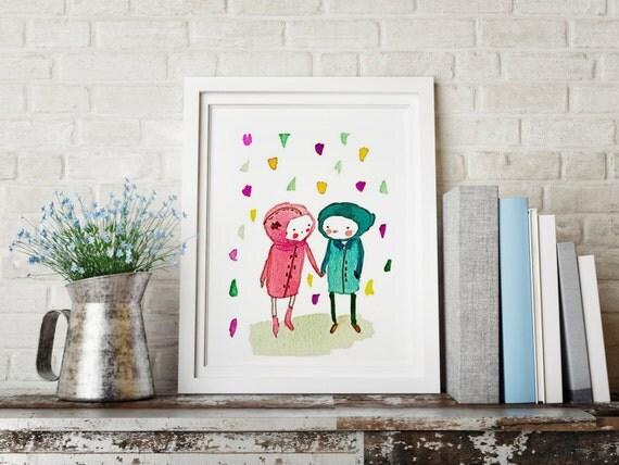 Take my hand - Friend & Love - Holli - Nursery Wall Art - Nursery Decor - Childrens Art - Kids Wall Art - Nursery Art