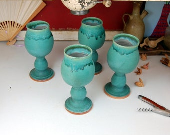 Set of Four Wine Goblet in Turquoise - Made to Order