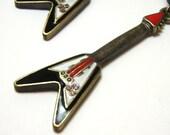 Golden Guitar Earrings - Black and red electric guitar charm dangle earrings - Punk Rockstar