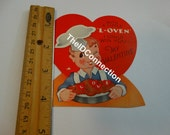 """Vintage Valentine Card, """"With a Little Loven I could win you my Valentine"""", Baker, Chef, Cook Valentine, Cookies, Valentine Greeting"""