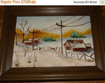 Valentines Day Sale Miniature Oil Painting, Winter Farm, Red Barn, Christmas Winter, Snow, Telephone Lines, Ice cycles, Pine Trees, Country,