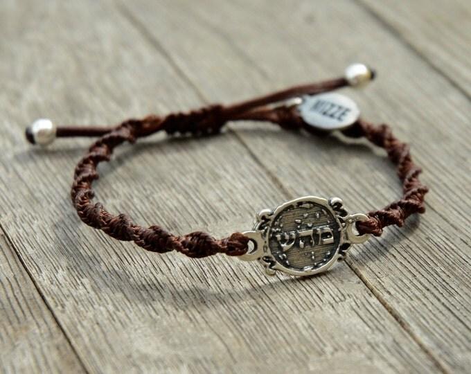 Unisex 72 Names of God Charm Hand Woven Brown Bracelet for Good Health