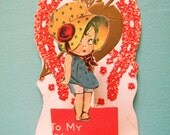 Vintage Stand Up Valentine's Day Card Funny Little Girl