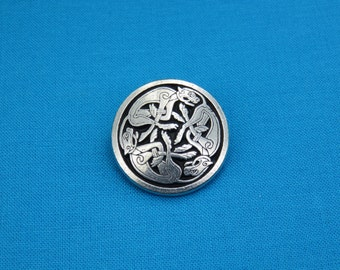"""1"""" Tri-Celtic Dogs Knotwork Button, Handmade in Silver Pewter, STK232"""