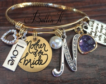 Mother of the BRIDE gift, GOLD bangle bracelet, charm bracelet, Today a Bride Forever your daughter, Initial, Fall wedding, Mixed metals,