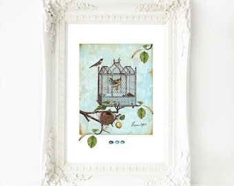 Vintage bird cage print with birds nest, French country, vintage home decor, A4 giclee