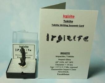 Rare IRGIZITE Tektite Meteorite From Kazakhstan With Irgizite Tektite Writing Souvenir Card