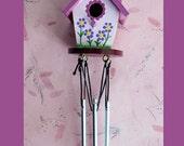Mini Birdhouse Wind chime Pink
