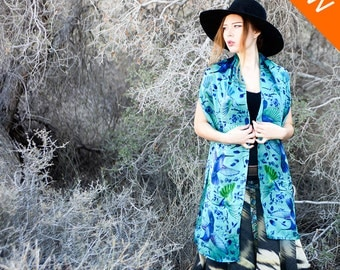 Long Shawl, Silk Bandana Scarf, Hummingbird Scarf, Turquoise Scarf, Silk Wrap, Painted Silk Scarf, Bird Shawl, Maxi Scarf, Long Bandana