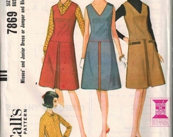 1965 McCalls 7869 Mod Dress Sewing Pattern Vintage Size 14 Inverted Pleat Dress  or Jumper CUTE
