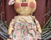 Bunny Jo EPATTERN...primitive country spring easter rabbit cloth doll craft digital download sewing pattern...PDF...1.99