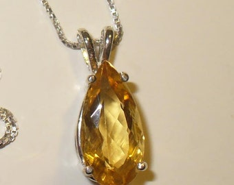 Heliodor Pendant Necklace in Sterling Silver - Genuine, Natural Gemstone Beryl Yellow Emerald