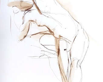 Nude Figure Drawing -Female Torso Stretch - Original Ink on Paper -  by Michelle Arnold Paine
