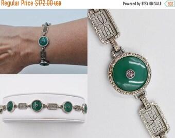 ON SALE Vintage Krementz Art Deco Sterling Silver Filigree Link Bracelet, Peking Glass, Rhinestone, Jade Green, Round, Exquisite! #b545