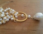 Pearl Lariat Gold Necklace