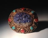 Carved Chinese Lapis, Turquoise, and Coral Brooch