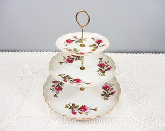 "Vintage Japanese Rose Floral 3 Tier Dessert Stand - 10"" Overall Height"