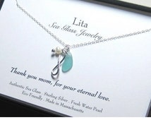 Eternal Love Sea Glass Necklace| Infinity Necklace | Sea Glass Jewelry | Beach Glass Jewelry | Mothers Jewelry |  Sea Glass Necklace