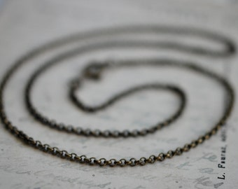 """antiqued brass rolo necklace chain ... 16"""" or 18"""" for suegray wax seal jewelry"""