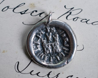 rustic medieval castle wax seal necklace ... home sweet home - fine silver medieval wax seal jewelry