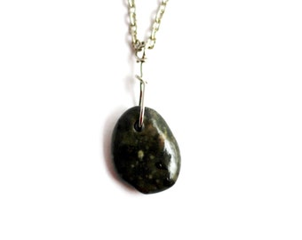 Beach Stone Necklace, Wire Wrapped, Dark River Rock, Eco Friendly, Natural  Jewelry, Handmade by Hendywood (3)