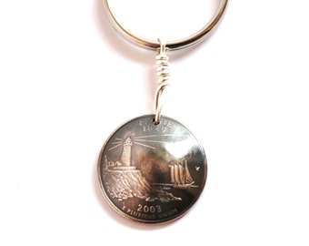 Key Ring, Keychain, U.S. State Quarter Dollar Coin, Maine, Lighthouse,  2003, Key Fob by Hendywood