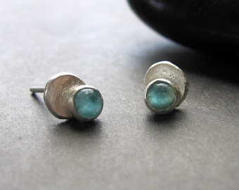 "33% OFF tiny aqua apatite silver ""Double Dot Stud"" earrings"