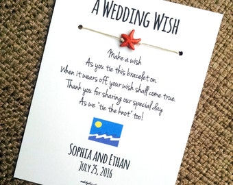 Starfish Wish - A Wedding Wish - Wish Bracelet Wedding Favor Custom Made for You