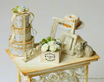 Dollhouse Miniature Flowers - Green Apples and Ruffle Rose Arrangement