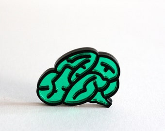 Brain Brooch, Laser Cut Brooch, Mirror Acrylic, Inlayed, Choice of Colours, Handmade in UK