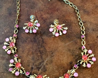 Charming Vintage Leo Glass Matching Jewelry Set Necklace & Earrings PINK Rhinstones Prom Party