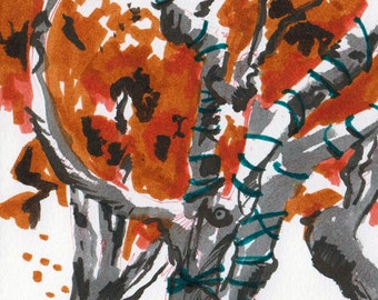 Fall Foliage - Original Marker Sketch by Jen Tracy - Study of Autumn Leaves