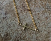 Gold Plated Sideways Cross Necklace