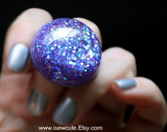 Resin Ring In Opalescent Multi-Color Glitter, Fairy Kei Resin Jewelry, Pastel Lavender Glitter Resin Ring, Resin Bijoux, Glitter Resin Ring