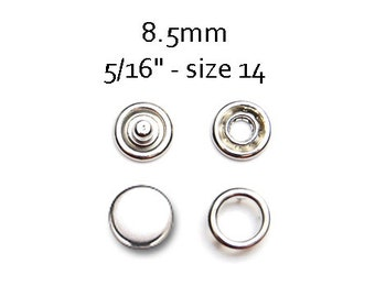 25 sets Silver Size 12 Snap Fasteners . 8.5mm prong snaps #700147