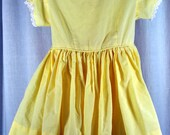 Yellow Dotted Swiss Girl's Dress - Vintage Handmade - Hand Made