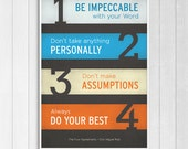 The Four Agreements - Inspirational Typographic Poster Print - 11x17""