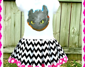 How to Train your Dragon dress Toothless dress 24 months 3T 4T 5T 4/5 6/6X 7/8 10/12 and 14/16