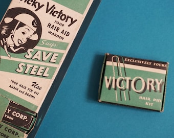 Deadstock WWII Vintage VICTORY Hair Pin Boxes in the Original Dispenser | 24 boxes
