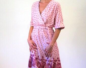 Beautiful Mornings, 70s Dress S M, Pink Paisley Dress, Floral Dress Border Print Midi Dress, Boho Pink Dress, Faux Wrap V Neck Avon Dress