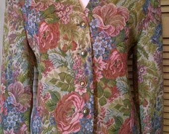 70s Vintage Designer Ann Taylor Floral Fall Colors Brocade Blazer Jacket