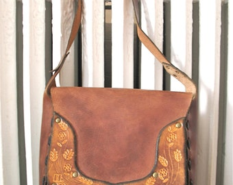 Honey Wheat   Vintage 1970s Tooled Leather Saddle Bag Shoulder Purse Brown Leather with Flowers - HB Initial