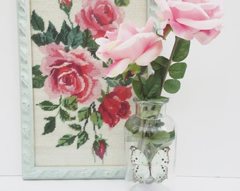 Gorgeous fabric embrodiered tapestry panel of flowers roses floral design