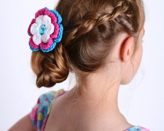 Flower Hair Clip Crochet Flower White Hair Clip White Flower Hot Pink Hair Clip Hot Pink Flower Bright Blue Hair Clip Bright Blue Flower