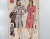 1940s Vintage Sewing Pattern Hollywood 1234 Misses Two piece Suit Dress Size 12 Bust 30 40s