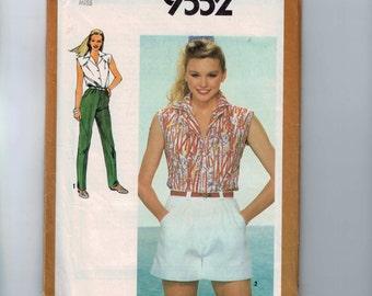 1980s Vintage Sewing Pattern Simplicity 9552 Misses Sleeveless Button Down Shirt Wide Leg Shorts Straight Leg Pants Size 14 Bust 36 UNCUT