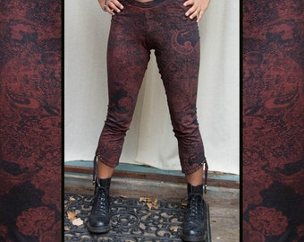 TASSEL LEGGINGS - Yoga Boho Hippie Steampunk Steam punk Faery Fairy Pixie Pirate Pants Tights Burning man - Red Black Paisley