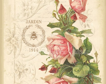 Pink Roses Vintage French Ephemera Script Jardin single image BUY 3 get one FREE Digital download ECS