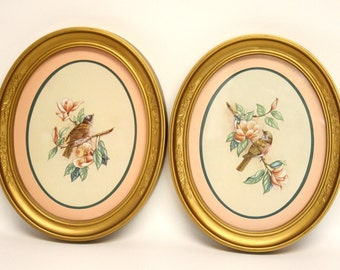 Pair of Homco Bird Prints in Gold Oval Frames